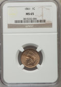 1861 1C MS65 NGC. NGC Census: (150/43). PCGS Population (206/74). Mintage: 10,100,000. Numismedia Wsl. Price for problem...