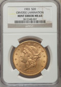 Liberty Double Eagles, 1903 $20 -- Obverse Lamination -- MS63 NGC. NGC Census: (4355/3641). PCGS Population (3295/3349). Mintage: 287,200. Numisme...