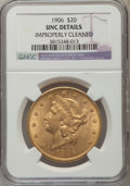 Liberty Double Eagles: , 1906 $20 -- Improperly Cleaned -- NGC Details. Unc. NGC Census: (45/456). PCGS Population (51/561). Mintage: 69,500. Numism...