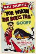 "Movie Posters:Animated, For Whom the Bulls Toil (RKO, 1953). One Sheet (27"" X 41""). ..."