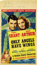 "Movie Posters:Drama, Only Angels Have Wings (Columbia, 1939). Midget Window Card (8"" X14""). ..."