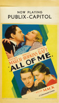 "Movie Posters:Drama, All of Me (Paramount, 1934). Midget Window Card (8"" X 14""). ..."