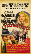 "Movie Posters:Comedy, Saratoga (MGM, 1937). Midget Window Card (8"" X 14""). ..."