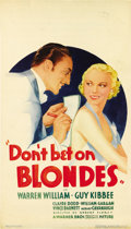 "Movie Posters:Comedy, Don't Bet on Blondes (Warner Brothers, 1935). Midget Window Card(8"" X 14""). ..."