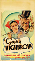 "Movie Posters:Comedy, Going Highbrow (Warner Brothers, 1935). Midget Window Card (8"" X14""). ..."