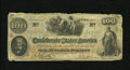 Confederate Notes:1862 Issues, T41 $100 1862. The edges show wear along with a couple ofapproximate quarter inch tears. Two small repairs are visible ont...