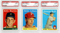 Baseball Cards:Lots, 1958 Topps PSA-Graded MINT 9 Collection (3). Trio of 1958 PSA MINT9 cards, all three cards have tremendous centering and co...