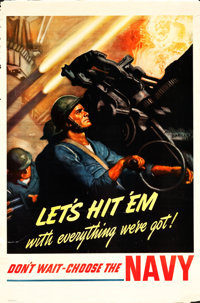 "WWII Navy Recruitment Posters by McClelland Barclay (U.S. Government Printing Office, 1942). Posters (2) (28"" X 42&..."