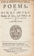 Books:Literature Pre-1900, Henry More. Philosophicall Poems. Cambridge: Roger Daniel,1647....