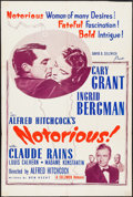 "Movie Posters:Hitchcock, Notorious (Selznick, R-1954). One Sheet (27"" X 41""). Hitchcock....."