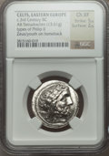 Ancients:Celtic, Ancients: EASTERN CELTS. Imitating Philip II. Ca. 3rd century BC.AR tetradrachm (13.61 gm)....