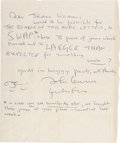 Music Memorabilia:Autographs and Signed Items, Beatles - John Lennon Autograph Letter Signed with Caricatures,also Signed by Yoko Ono (West Hollywood, Mid-1970s). ...