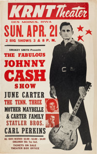 Johnny Cash/June Carter/Carl Perkins Concert Poster, KRNT Theater, Des Moines, IA, 1968