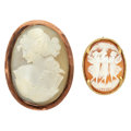 Estate Jewelry:Cameos, Shell Cameo, Gold Pendant-Brooches. ... (Total: 2 Items)