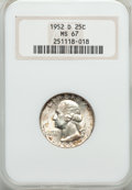 Washington Quarters: , 1952-D 25C MS67 NGC. NGC Census: (33/1). PCGS Population (14/0).Mintage: 49,795,200. Numismedia Wsl. Price for problem fre...