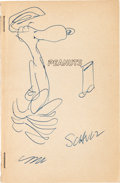 Original Comic Art:Sketches, Peanuts Book with Charles Schulz Signed Sketch of Snoopy (Rinehart & Co., 1952)....