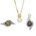 Estate Jewelry:Lots, Cultured Pearl, Diamond, Gold Jewelry. ... (Total: 3 Items)