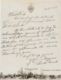 Baseball Collectibles:Others, 1935 Honus Wagner Handwritten Letter to Ford Frick Thanking Him forLifetime Pass, PSA/DNA Mint 9....