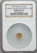 Expositions and Fairs, 1905 Lewis & Clark Exposition, 1/4 Oregon Gold, MS63 NGC. 0.18 gm....