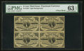 Fractional Currency:Third Issue, Fr. 1226 3¢ Third Issue Block of Four PMG Choice Uncirculated 63 EPQ.. ...