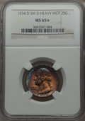 Washington Quarters, 1934-D 25C Small D, Heavy Motto MS65 ★ NGC. NGC Census: (3/0). PCGSPopulation: (2/2)....