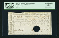 Connecticut Interest Certificate £1 Jan. 15, 1790 PCGS Extremely Fine 40 HOC Anderson 52