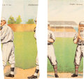 Baseball Cards:Lots, 1911 T201 Mecca Double Folders Miscut Pair (2) With Mathewson. ...
