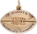Football Collectibles:Others, 1934 Steve Owen New York Giants National Football League Championship Gold Pendant....