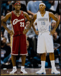 Basketball Collectibles:Photos, LeBron James and Carmelo Anthony Multi Signed UDA OversizedPhotograph....