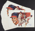 Baseball Collectibles:Photos, Stan Musial Signed Oversized Prints Lot of 20....