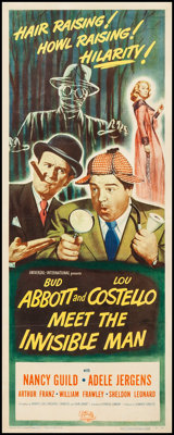 "Abbott and Costello Meet the Invisible Man (Universal International, 1951). Insert (14"" X 36""). Comedy"