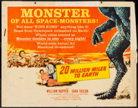 """20 Million Miles to Earth (Columbia, 1957). Half Sheet (22"""" X 28""""). Science Fiction"""