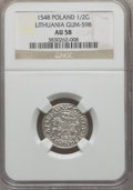 Lithuania, Lithuania: Sigismund August 1/2 Groschen 1548 AU58 NGC,...