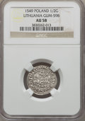 Lithuania, Lithuania: Sigismund August 1/2 Groschen 1549 AU58 NGC,...