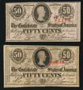 Confederate Notes:1863 Issues, T63 50 Cents 1863 PF-2 (2).. ... (Total: 2 notes)