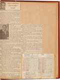 Baseball Collectibles:Others, 1938 Scrapbook With Babe Ruth Signed Golf Scorecard....