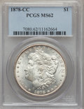 Morgan Dollars: , 1878-CC $1 MS62 PCGS. PCGS Population (4199/17479). NGC Census: (3072/11410). Mintage: 2,212,000. Numismedia Wsl. Price for...