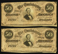 Confederate Notes:1864 Issues, T66 $50 1864, Two Consecutive Examples.. ... (Total: 2 notes)