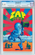 Silver Age (1956-1969):Alternative/Underground, Zap Comix #4 Haight-Ashbury pedigree (Apex Novelties, 1969) CGC NM9.4 Off-white to white pages....
