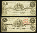 Confederate Notes:1861 Issues, T36 $5 1861 PF-4; 6 Cr. 278; 280.. ... (Total: 2 notes)
