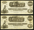 Confederate Notes:1862 Issues, T40 $100 1862 PF-20 Cr. 308.. T40 $100 1862 PF-20 Cr. 309.. ...(Total: 2 notes)