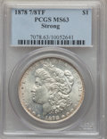 Morgan Dollars: , 1878 7/8TF $1 Strong MS63 PCGS. PCGS Population (2679/1864). NGC Census: (1668/1155). Mintage: 544,000. Numismedia Wsl. Pri...
