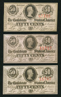 Confederate Notes:1863 Issues, T63 50 Cents 1863, Three Examples.. ... (Total: 3 notes)