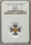 California Fractional Gold: , 1871 25C Liberty Octagonal 25 Cents, BG-765, R.3, MS62 NGC. NGCCensus: (14/13). PCGS Population (82/102). ...