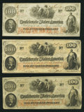 Confederate Notes:1862 Issues, T41 $100 1862 PF-12; PF-15; PF-16 Cr. 317A; Cr. 316; Cr. 320.. ...(Total: 3 notes)