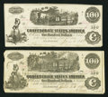 Confederate Notes:Group Lots, T39 $100 1862 PF-4 Cr. 293. T40 $100 1862 PF-20 Cr. 308. ...(Total: 2 notes)