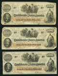 Confederate Notes:1862 Issues, T41 $100 1862 PF-12 (2); PF-17 Cr. 317A (2); Cr. 318.. ... (Total:3 notes)