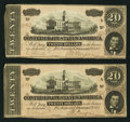 Confederate Notes:1864 Issues, T67 $20 1864 PF-3 Cr. 505 Two Examples.. ... (Total: 2 notes)