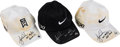 Golf Collectibles:Miscellaneous, 2011 Tiger Woods Masters Tournament Worn Caps Complete Set of 3.. ...