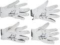 Golf Collectibles:Miscellaneous, 2011 Tiger Woods Masters Tournament Worn Gloves Complete Set of4....